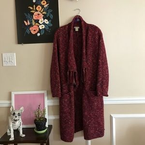 Sweaters - Lucky Brand Knit Red Long cardigan boho duster